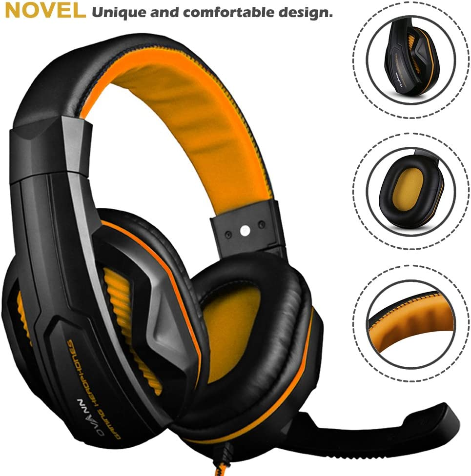 Black and Orange Gaming Headset,DLAND 3.5mm Wired Bass Stereo Noise Isolation Gaming Headphones with Mic for Laptop Computer Cellphone PS4 and so on- Volume Control