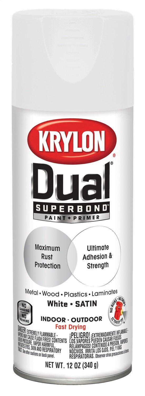Krylon K08822001 Dual Superbond Paint + Primer, White, Satin, 12 ounce