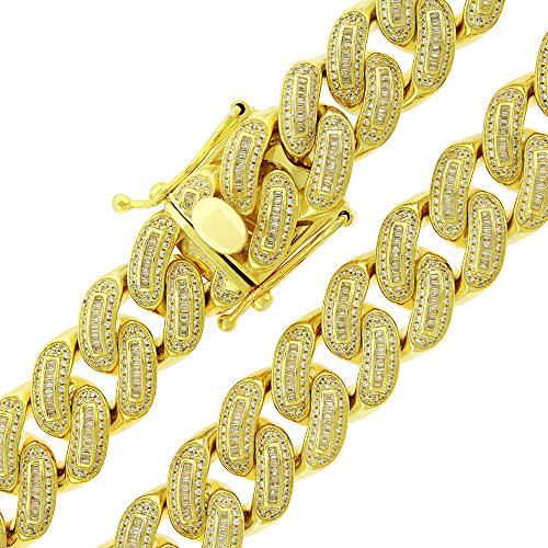 .925 Sterling Silver 18mm CZ Baguette Iced Out Miami Cuban Curb Link Bling Chain Necklace Yellow Gold Plated (30) by In Style Designz