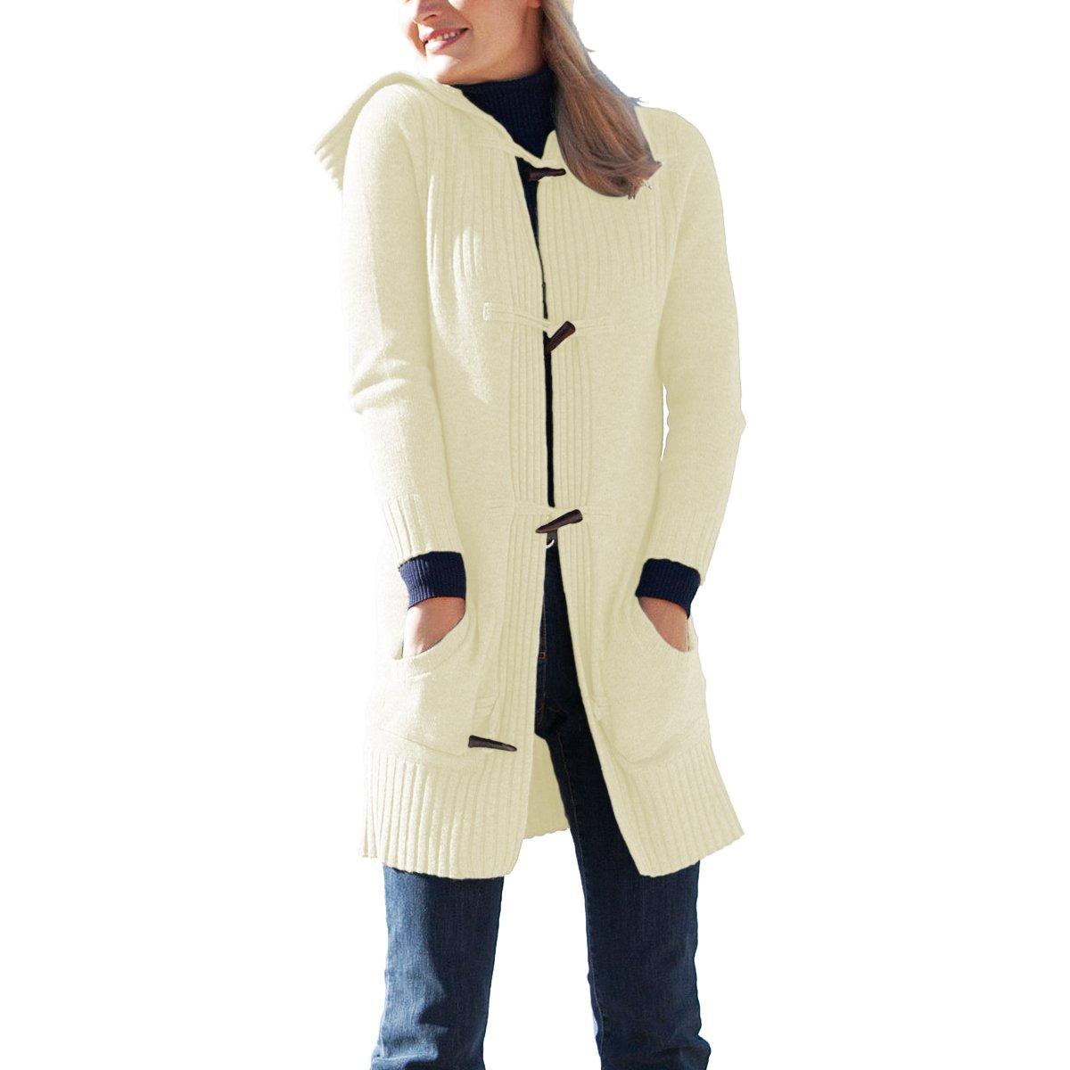Parisbonbon Women's 100% Cashmere Hooded Cardigan Color Ivory Size S