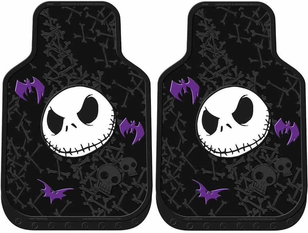 4PC by LA Auto Gear Nightmare Before Christmas Jack Skellington Purple Bats and Cross Bones Tim Burton Disney Front /& Rear Car Truck SUV Seat Rubber Floor Mats Set