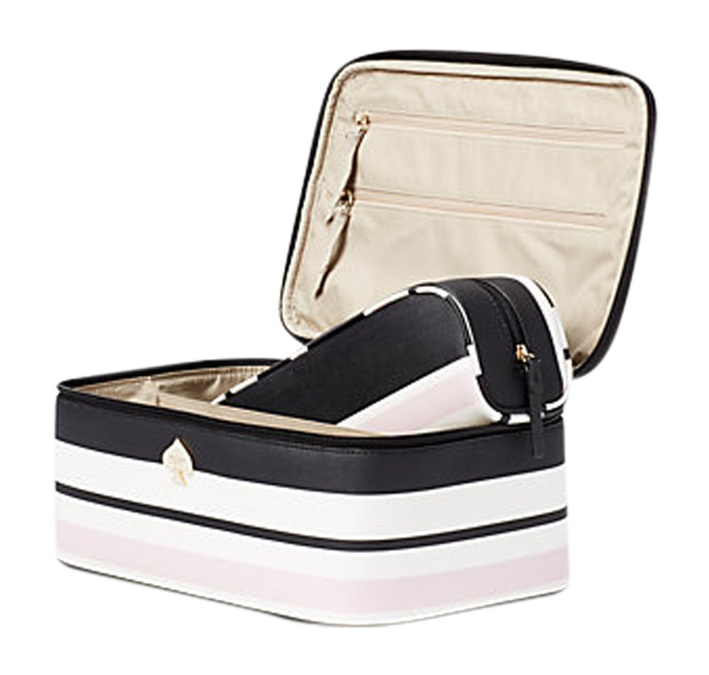 Kate Spade New York Cobblestone Park Large Colin Cosmetic Travel Case Classic Stripe