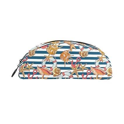 COOSUN - Estuche para bolígrafos de papelería, diseño de casetas náuticas de mar con ancla