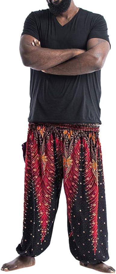 YWLINK Hombres Holgados Pantalones Boho Pantalones Casuales Baile ...