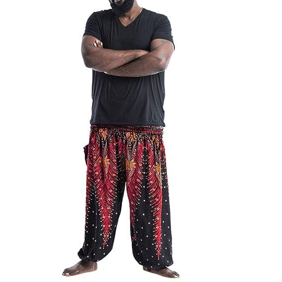 YWLINK Hombres Holgados Pantalones Boho Pantalones Casuales ...
