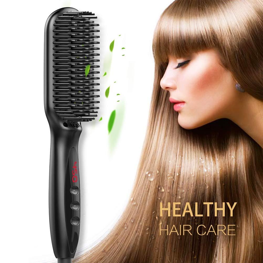 Lonic Hair Styling Comb,LED Temp Display Ceramic Heating Adjustable Temperatures Anti Scald Straight Heated Comb,for Straightening and Styling Beards,USPlug