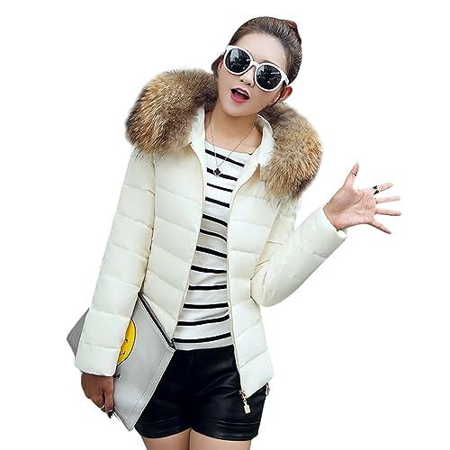 Sentao Abrigo corto Invierno Warm Chaqueta acolchada Outwear con Capucha Faux Pelaje Collar para muj...