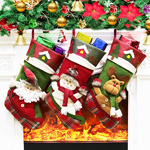 (Dreampark Christmas Stocking, 3 Pack Big Xmas Stocking Santa Snowman Home Decoration 18