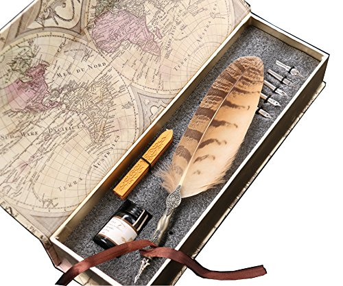 Professional Artist Drawing Writing Owl Feather Dip Pen