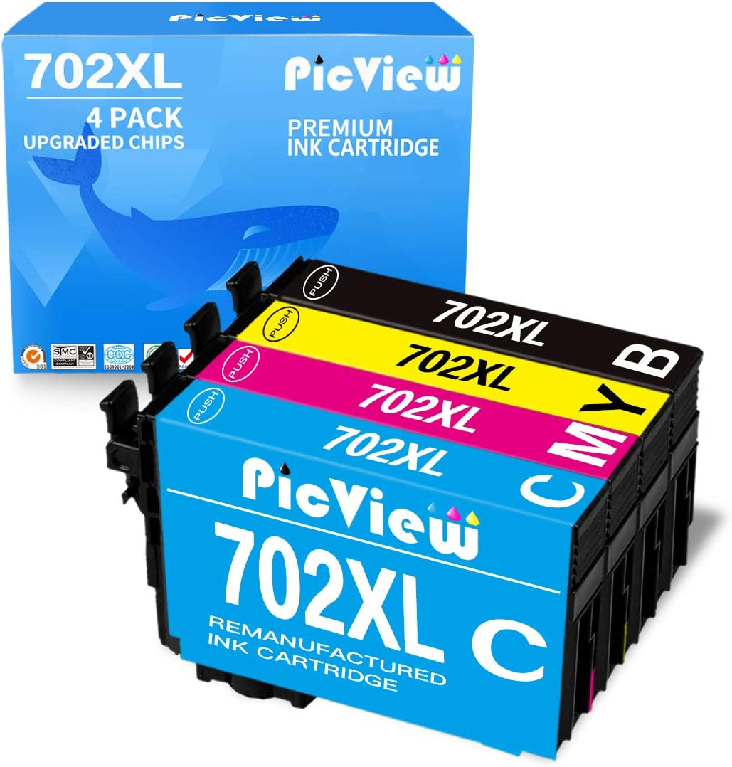 PicView Remanufactured Ink Cartridge Replacement for Epson 702 XL 702XL T702 T702XL for Workforce Pro WF-3720 WF-3730 WF-3733 Printer (Black Cyan Magenta Yellow, 4-Pack)