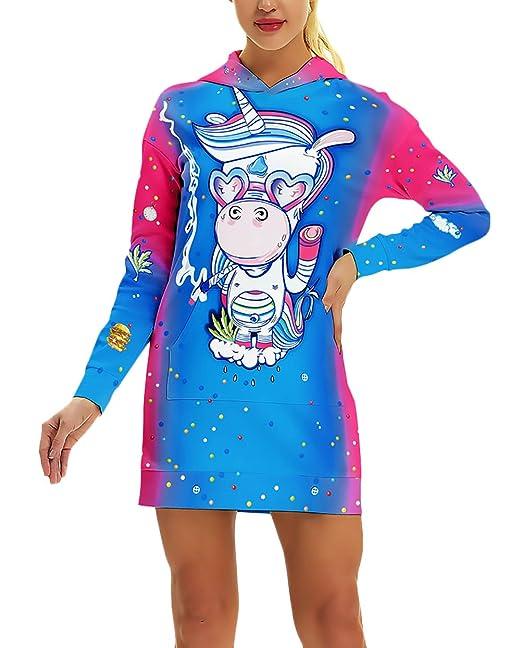 Mujer Vestidos con Capucha Primavera Otoño Fashion Impresión 3D Unicornio Jersey Sweatshirts Elegante Casuales Lindo Chic