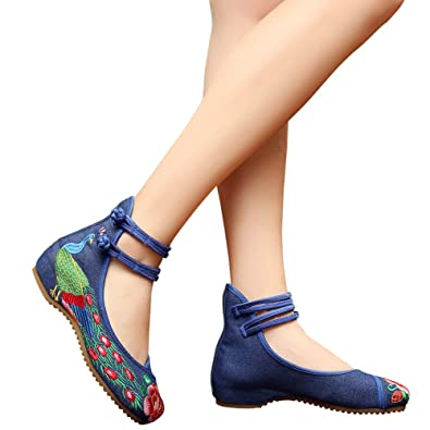 Hecater Chinese Style Peacock Embroderied Shoes Girls Ankle Strap