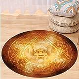 VROSELV Custom carpetHorror House Decor Demon Trap Symbol Logo Ceremony Creepy Ritual Fantasy Paranormal Design for Bedroom Living Room Dorm Orange Round 24 inches