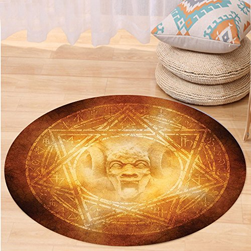VROSELV Custom carpetHorror House Decor Demon Trap Symbol Logo Ceremony Creepy Ritual Fantasy Paranormal Design for Bedroom Living Room Dorm Orange Round 79 inches by VROSELV