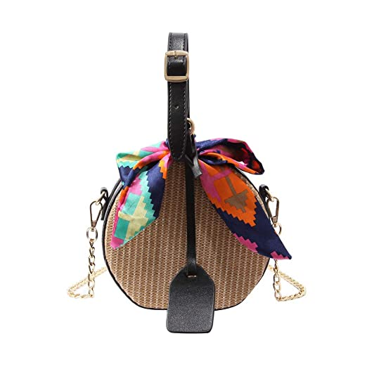 298ecd5a8bf8 Amazon.com: Rakkiss Womens Crossbody Bag Fashion Straw Bag Saddle ...