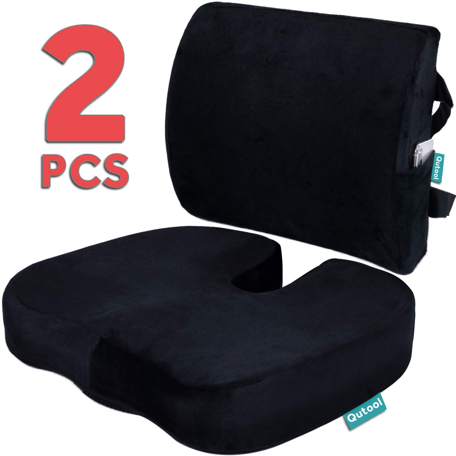 Seat Cushion Coccyx Orthopedic Memory Foam and Lumbar Support Pillow for Office Chair and Car Chair Cushion for Low Back Support, Tailbone Pain, Sciatica Relief Black Qutool by Qutool