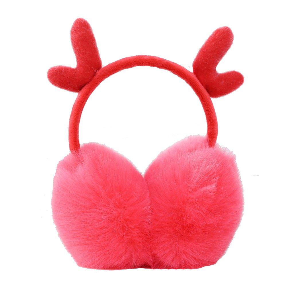 Lady Christmas Antlers Headband Ear Muffs Girls Adorable Fluffy Outdoor Earmuffs Urchart