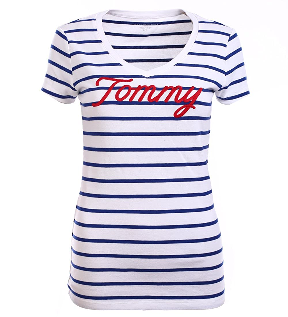 Tommy Hilfiger Damen V - Neck Shirt T-Shirt Damenshirt Gestreift Größe S   Amazon.de  Bekleidung 7accbc5004