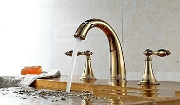 Furesnts Moderne Home Küche Und Bad Armatur Kupfer Und Vergoldete 3 Teilig  Gold 3