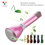 TOSING K068 Wireless Karaoke Microphones Bluetooth Speaker 2-in-1 Handheld Live Streaming & Recording Portable KTV Player Mini Home KTV Music Playing and Singing Machine System for iPhone/Android Smartphone/Tablet Compatible (pink)