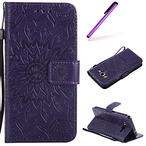 Glitzer Hülle für Samsung Galaxy Grand Prime,Leder Hülle für Galaxy Grand Prime Hülle,Samsung Galaxy Grand Prime Leder Handy Tasche Wallet Case Flip Cover Etui für Galaxy G530,EMAXELERS Galaxy Grand P Sunflower Floral 7
