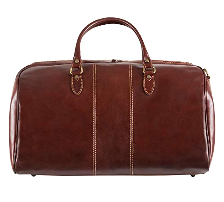 Image of Alberto Bellucci Italian Leather Full Zip Around Traveler Duffel Bag Luggage