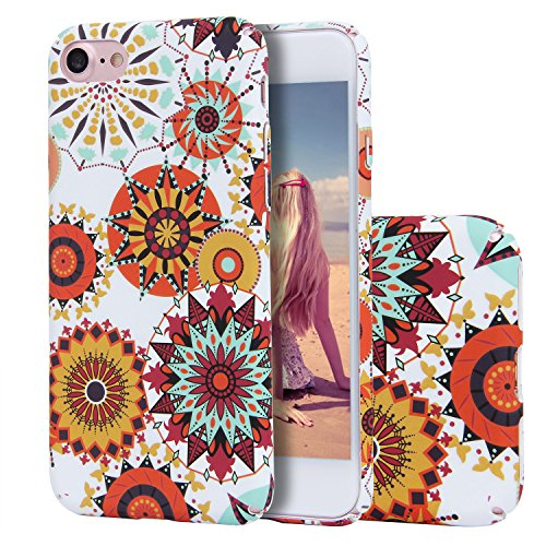 iPhone 7 hülle?Imikoko® iPhone 6/6s Elegant Protective Schützend Stoßfest Case Back Cover Blumenmuster Hart PC Hülle Retro Floral Series Mode Design Anti Staub Kratzer Handyhülle für iPhone Apple 7(Ma