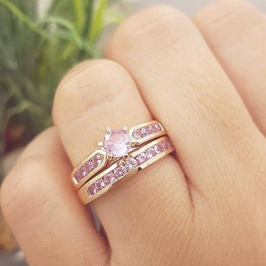 Rose Gold 10k Mauve Purplish Pink Princess Cut 7 Sapphire Channel Set Anniversary Stacker Band Ring US 6 34