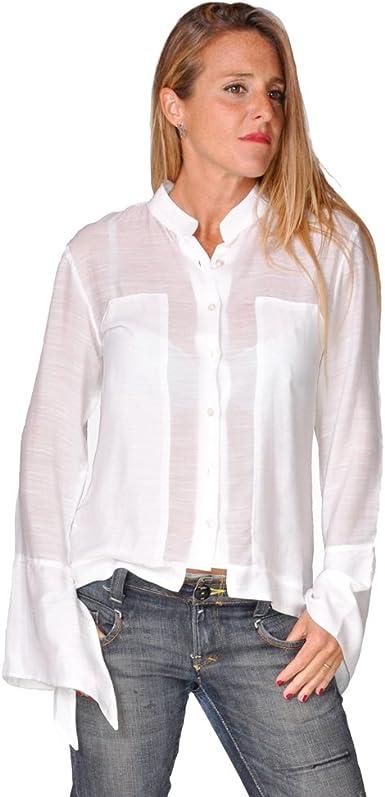 Anoushka Manga Acampanada Cosi Camisa, Blanco, 40 (Tamaño del ...