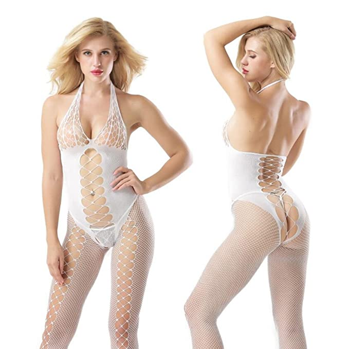 3919a88afd Amazon.com  Fishnet Bodystocking Women Sexy Halterneck Lingerie Crotchless Bodysuit  Babydoll (Black