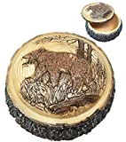 Beautiful Rustic Faux Wood Grizzly Bear Roaming The Woodlands Rounded Jewelry Box Resin Figurine
