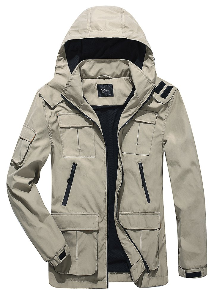 Yozai Men's Outdoor Sports Hooded Windproof Jacket Hooded Rain Jacket Plus Size (Medium, Khaki)