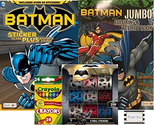 Batman vs Superman Coloring and Activity Books with Over 60 Stickers and 3 Sticker Scenes Plus 9 Roll Sticker Box with Over 200 Stickers and 24ct Crayola Crayons