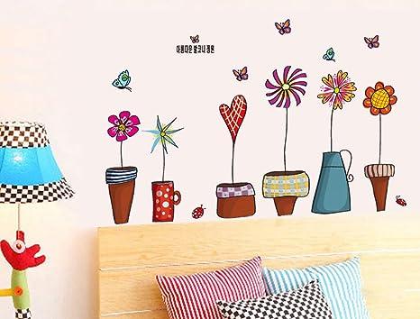 ufengke® Dibujos Animados Plantas en Macetas de Colores Pegatinas de Pared, Sala de Estar