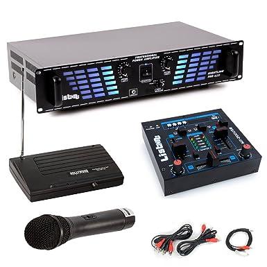 PA Expansión de 1200 W Amplificador USB MP3 Mesa de mezclas de DJ de micrófonos inalámbricos