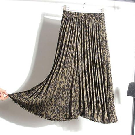 DAHDXD Faldas de Leopardo Moda para Mujer Otoño Invierno Cintura ...
