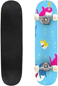 Classic Concave Skateboard Shark Swimming in sea on Old Paper Poster Background with Text Vintage Longboard Maple Deck Extreme Sports and Outdoors Double Kick Trick for Beginners and Professionals
