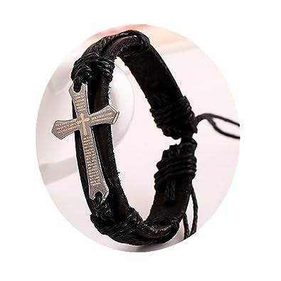 Amazon Com Black Or Brown Leather Bracelet Cross Bracelet Cross