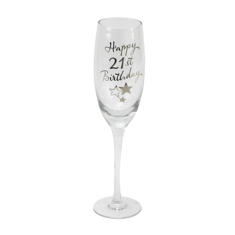 21st Birthday Stars Champagne Flute Glass Gift Widdop G31821