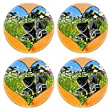 MSD Round Coasters Non-Slip Natural Rubber Desk Coasters design 17300599 Heart picture wood brown landscape meadow Spring Holiday