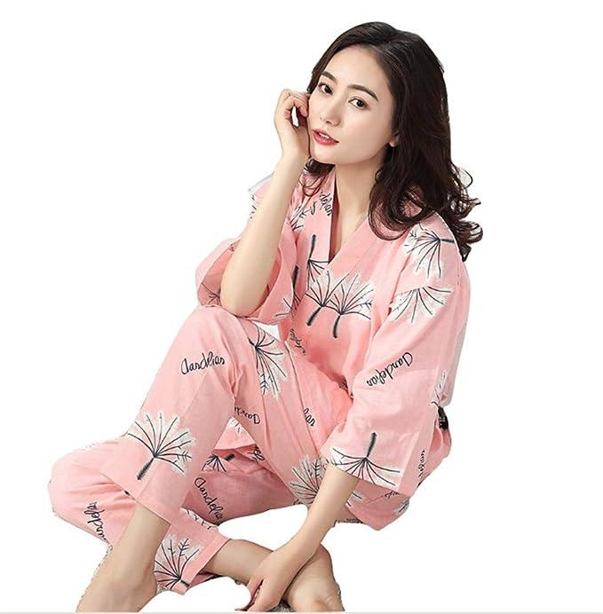 YTFOPLK Sencillo Baño De Diente De León Kimono Mujer Batas Pijamas Conjuntos Gasa Algodón Suave Kimono Japonés SPA Mujeres Pijamas Albornoces, ...