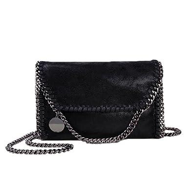 Women Chain Bag Fashion PU Leather Crossbody Bag Shoulder Bags Ladies  Clutch Handbag (Black) 58618c5748b22