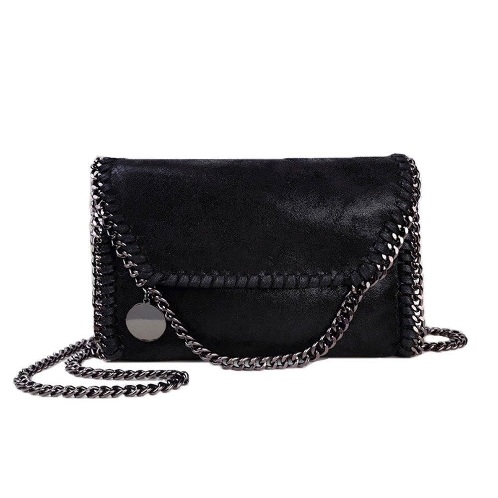 Women Chain Bag Fashion PU Leather Crossbody Bag Shoulder Bags Ladies Clutch Handbag (Black)