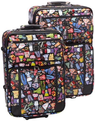 Sydney Love 2 Piece Rolling Luggage Set, Wardrobe Print,One (Leather Nylon Luggage Set)