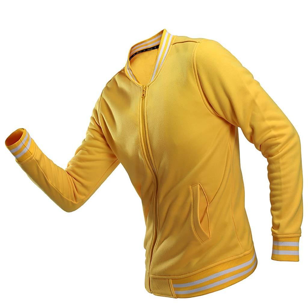 WENJUN Männer Reißverschluss Stehkragen Paar Aktivitäten Pullover 5 Farben zur Auswahl (Farbe : Gelb, größe : XL)