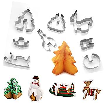 3d Christmas - Escenario de Cookie Cutter Set Acero Inoxidable DIY galleta molde decoración de pasteles - muñeco de nieve árbol de Navidad renos trineo para ...