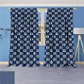 Rustic Home Decor Curtains,Greek House Tile Inspired Image Spring Daisy Like Floral Details Navy Blue and,Living Room Bedroom Window Drapes 2 Panel Set