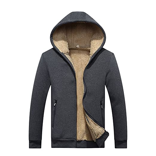 SHDAS Men's Heavyweight Sherpa Lined Full Zip Fleece Hoodie Jacket Sweatshirt