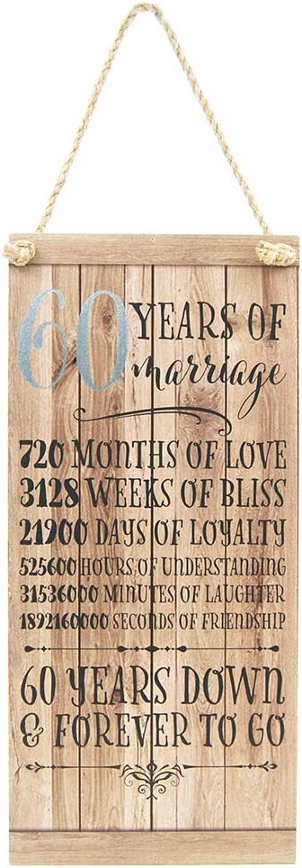 """Happy Homewares Beautifully Designed 60th Anniversary Vintage MDF Hanging Plaque with Rope 