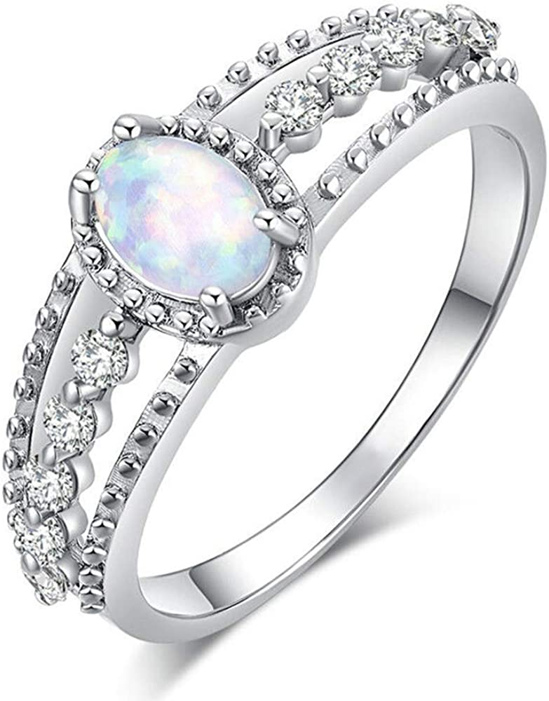 Opal Ring Genuine White Opal 7x5mm Oval Cabochon Set In 925 Sterling Silver Nugget Style Ring